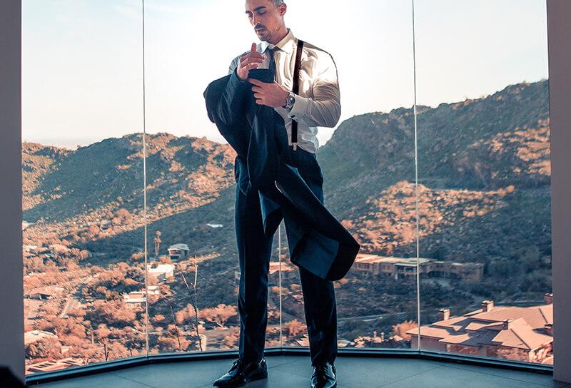 man wearing suit jacket