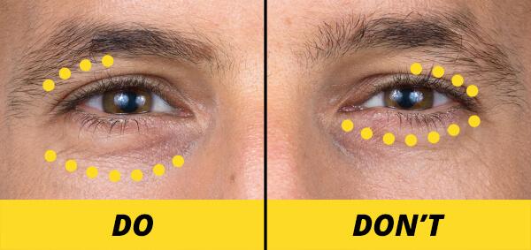 applying eye cream diagram