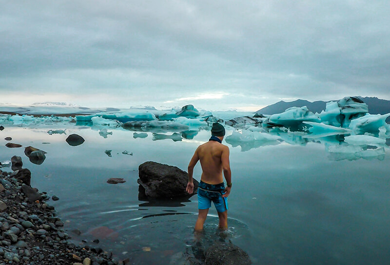 man in cold water